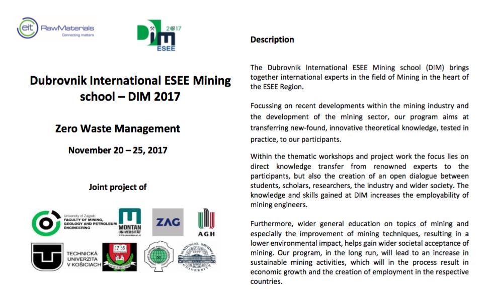 Dubrovnik International ESEE Mining School: Zero Waste